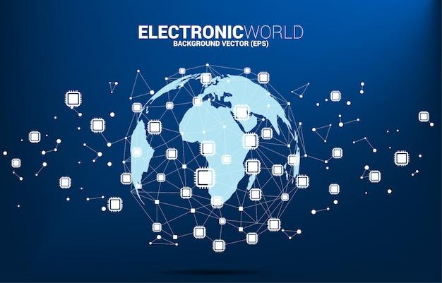 Weltkugel mit verbundener linie des cpu-ikonenpolygonpunktes. konzept für globale prozessortechnologie. Premium Vektoren