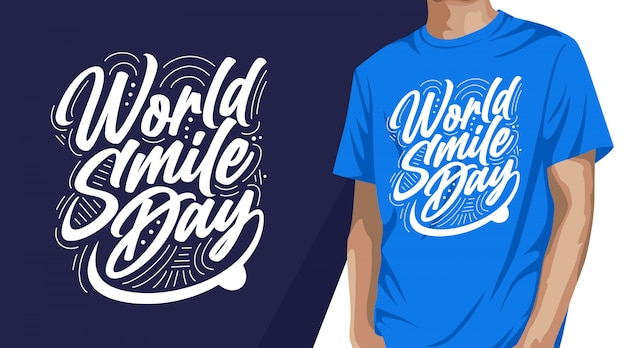 Weltlächeltag-typografie-t-shirt-design für druck Premium Vektoren