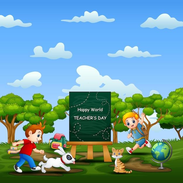 Weltlehrertag mit glücklichen kindern, die auf natur laufen Premium Vektoren