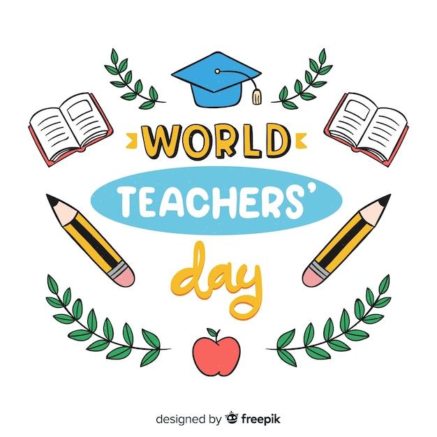 Weltlehrertag schriftzug hintergrund Kostenlosen Vektoren