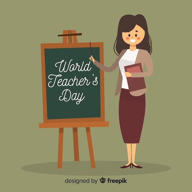 Weltlehrertaghintergrund mit weiblichem lehrer und tafel Kostenlosen Vektoren