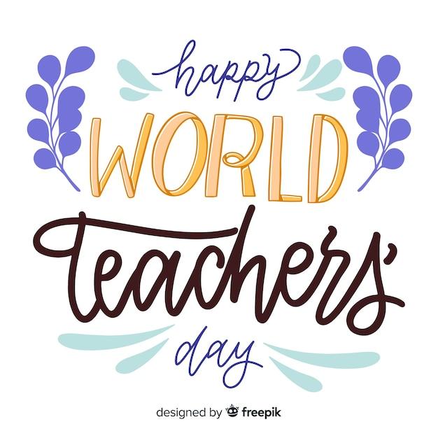 Weltlehrertagskonzept mit beschriftung Kostenlosen Vektoren