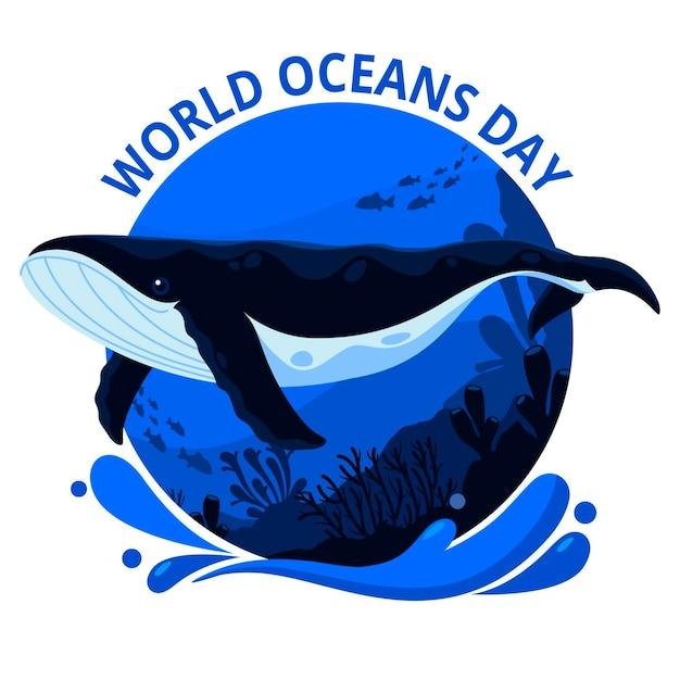 Weltmeertag mit wal im ozean Kostenlosen Vektoren