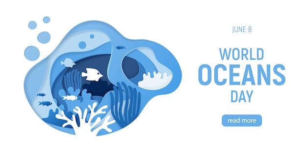Weltmeertag. papier geschnittener unterwasserhintergrund mit korallenriffen Premium Vektoren