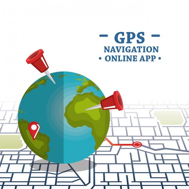 Weltplanet mit gps-navigationsikonen Kostenlosen Vektoren