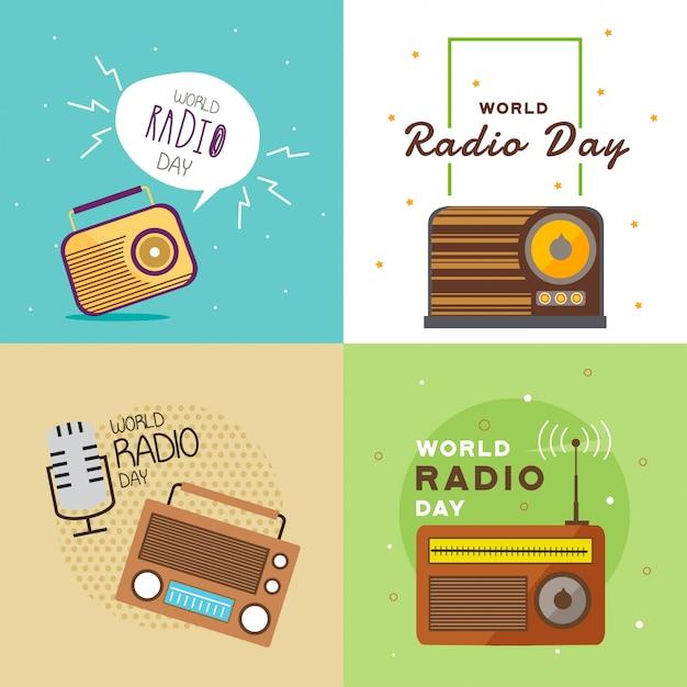 Weltradio day illustration Premium Vektoren