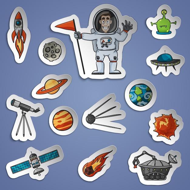 Weltraum-aufkleber eingestellt Kostenlosen Vektoren