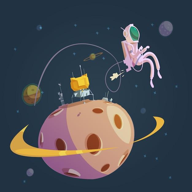 Weltraum-cartoon-hintergrund Kostenlosen Vektoren