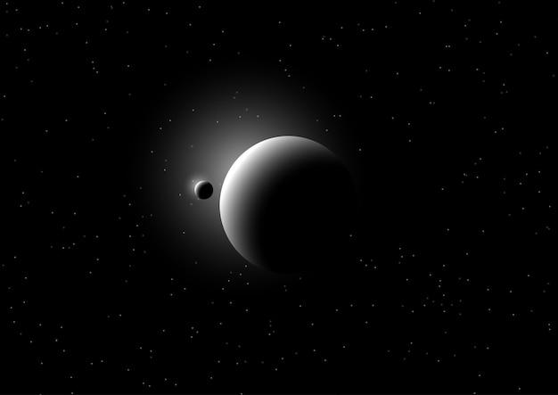 Weltraum-hintergrund mit fiktiven planeten Kostenlosen Vektoren