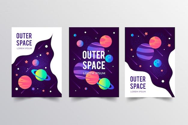 Weltraum-plakatsammlung Kostenlosen Vektoren