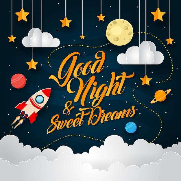 Weltraumabenteuer-papierkunst-gute nachtkarten-illustration Kostenlosen Vektoren