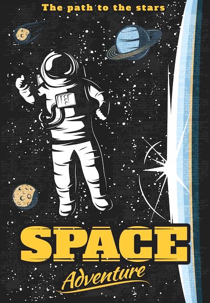 Weltraumabenteuerplakat mit astronauten außerhalb der orbitalstation und kosmischen objekten am sternenhimmel Kostenlosen Vektoren