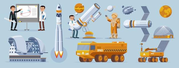 Weltraumerkundungselemente gesetzt Kostenlosen Vektoren