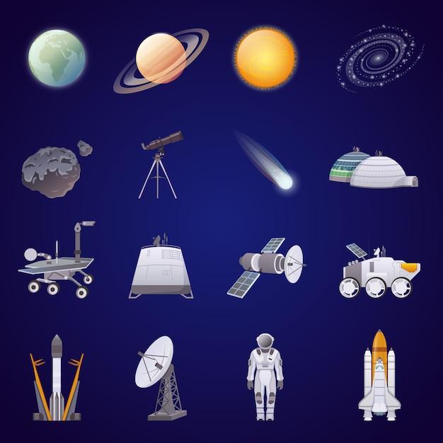 Weltraumforschung flache icons set Kostenlosen Vektoren