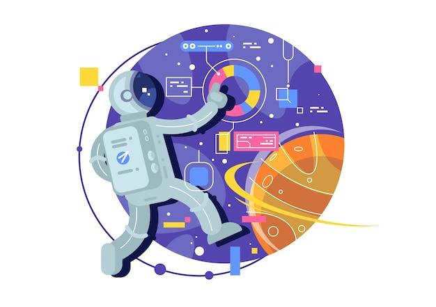 Weltraumforschung, raumfahrer, astronaut im weltraum. kreative illustration. Premium Vektoren
