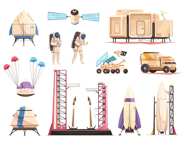 Weltraumforschung technologie icons set Kostenlosen Vektoren