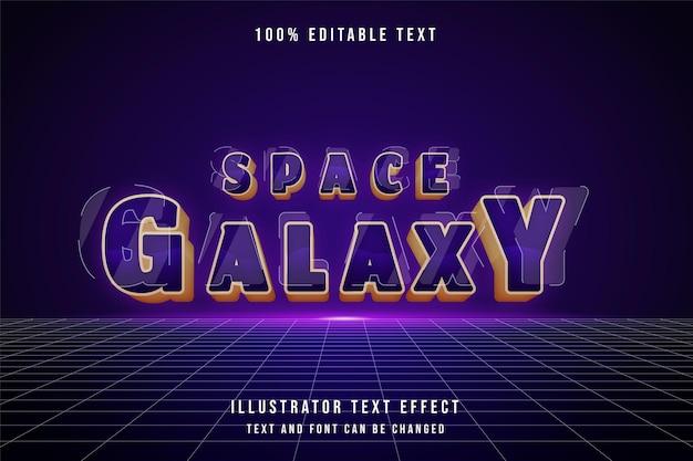 Weltraumgalaxie, 3d bearbeitbarer texteffekt lila abstufung gelber stileffekt Premium Vektoren