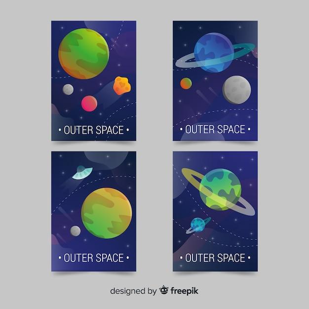 Weltraumhintergründe mit farbverlauf Kostenlosen Vektoren