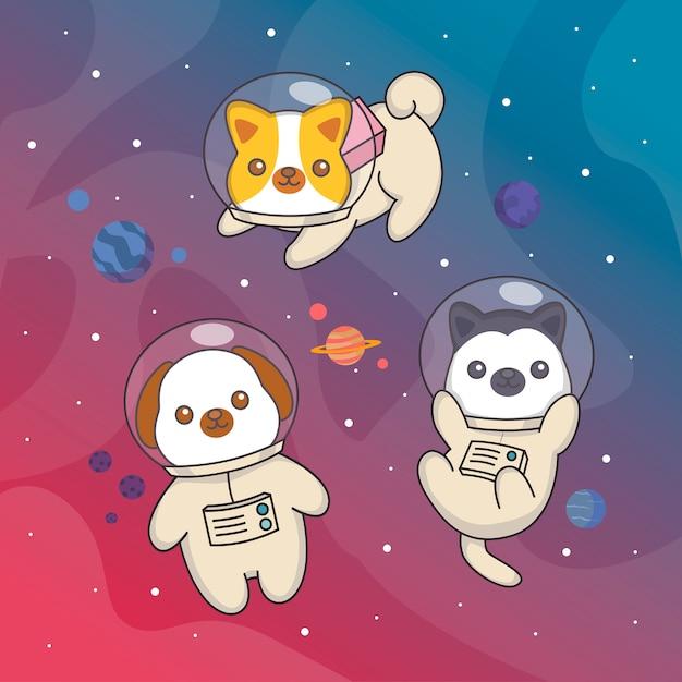 Weltraumhund Premium Vektoren