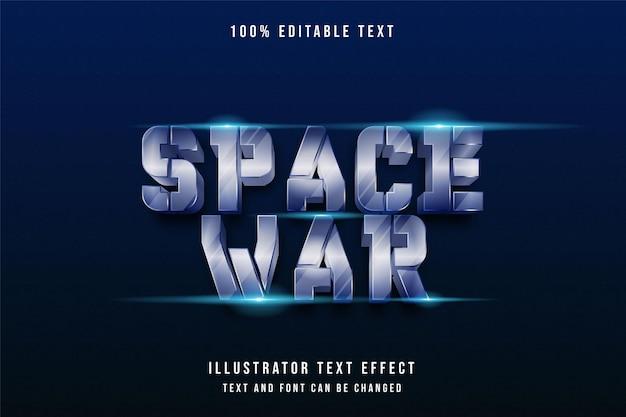 Weltraumkrieg, 3d bearbeitbarer texteffekt blaue abstufung 80er-jahre-stil-effekt Premium Vektoren