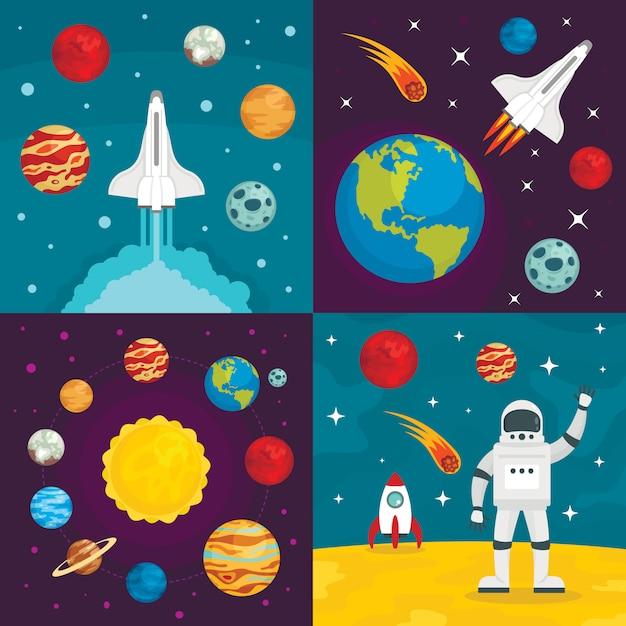 Weltraumplaneten hintergründe Premium Vektoren