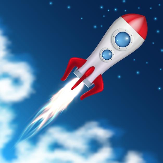 Weltraumrakete abheben. wissenschaftsraumschiffstart mit explosionsfeuer-vektorillustration Premium Vektoren