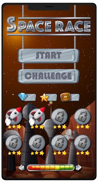 Weltraumrennen-missionsspiel auf dem smartphone-bildschirm Kostenlosen Vektoren