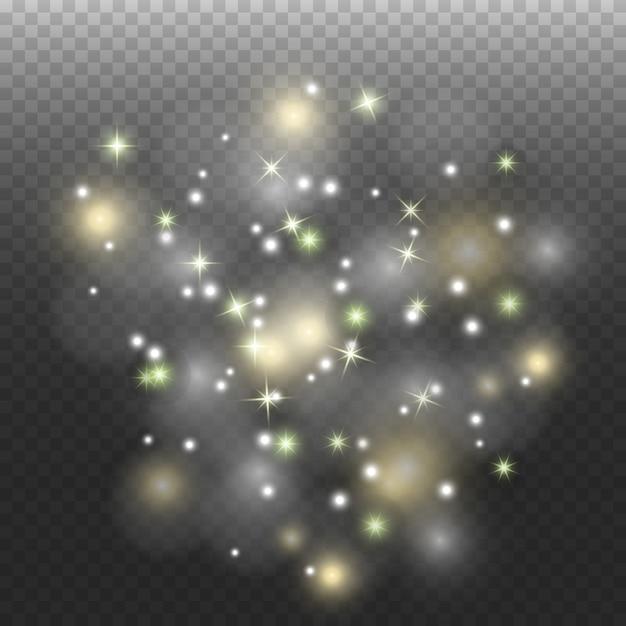 Weltraumstaub, auf einem transparenten hintergrund. faszinierende sternblitze, leuchtender staub. Premium Vektoren