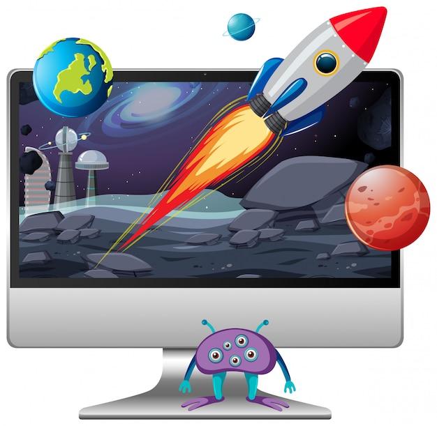 Weltraumszene auf computer-desktop-hintergrund Kostenlosen Vektoren