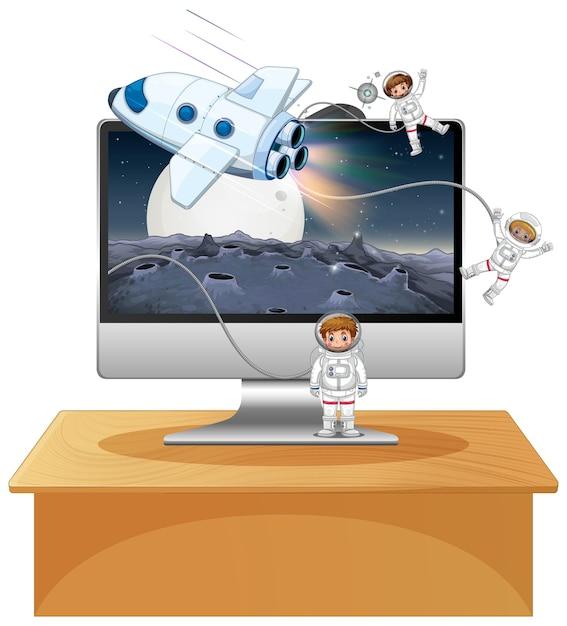 Weltraumszene auf computer-desktop-hintergrund Premium Vektoren