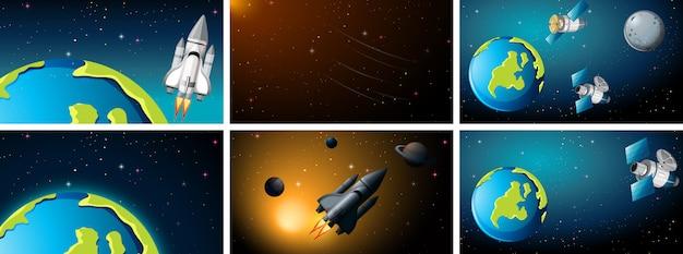 Weltraumszenen mit erde und raketen Kostenlosen Vektoren
