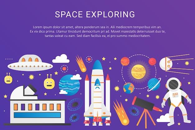 Weltraumuniversum infografik raumschiff rakete, sonnensystem mit planeten, satelliten Premium Vektoren