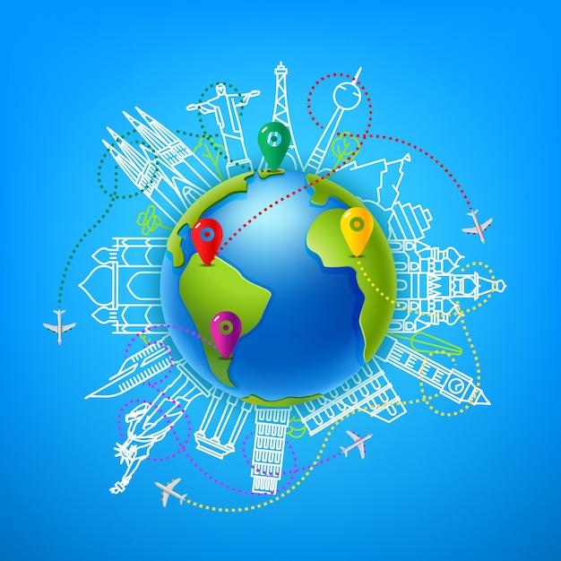 Weltreise-vektorfarbillustration Premium Vektoren