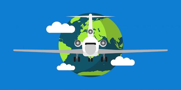 Weltreisenluftvektor-illustrationshintergrund Premium Vektoren