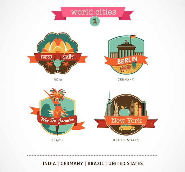 Weltstädte abzeichen - delhi, berlin, rio, new york Premium Vektoren
