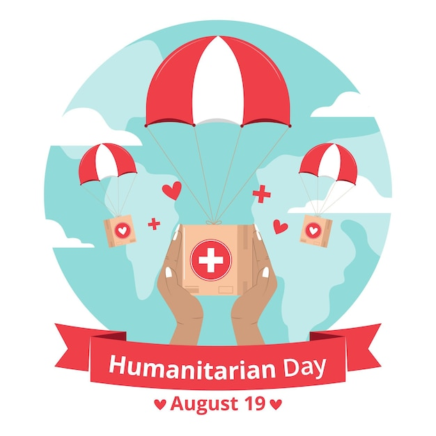 Welttag der humanitären hilfe mit hilfe und fallschirm Kostenlosen Vektoren