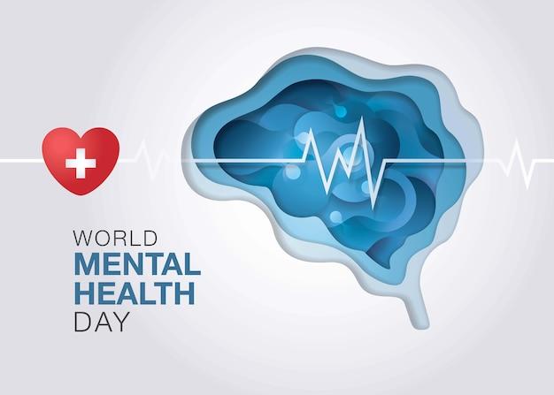 Welttag der psychischen gesundheit, abstrakte form der flüssigen flüssigkeit auf gehirnform, enzephalographie gehirn. Premium Vektoren