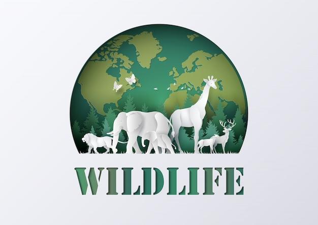 Welttag der wild lebenden tiere mit dem tier im wald Premium Vektoren