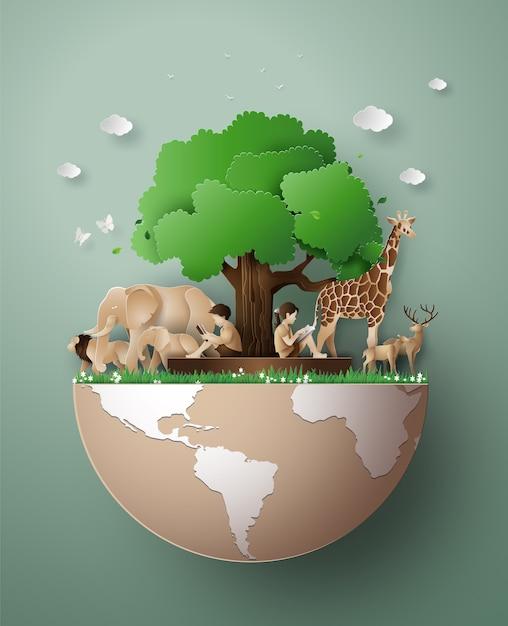 Welttag der wildtiere Premium Vektoren