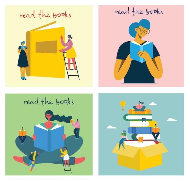 Welttag des buches, lesen der bücher und buchfestival im modernen flachen stil. die leute sitzen, stehen und gehen und lesen ein buch Premium Vektoren