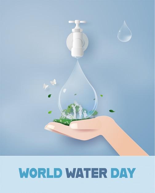 Welttag des wassers mit der familie. Premium Vektoren