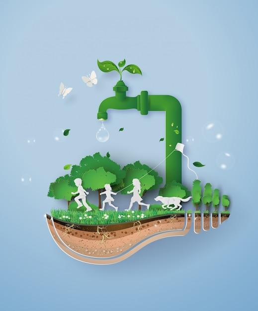 Welttag des wassers Premium Vektoren