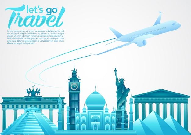 Welttourismus tag poster mit weltberühmten sehenswürdigkeiten und touristischen zielen elemente Premium Vektoren