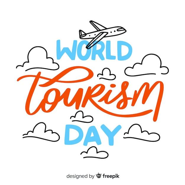 Welttourismus tag schriftzug hintergrund Kostenlosen Vektoren