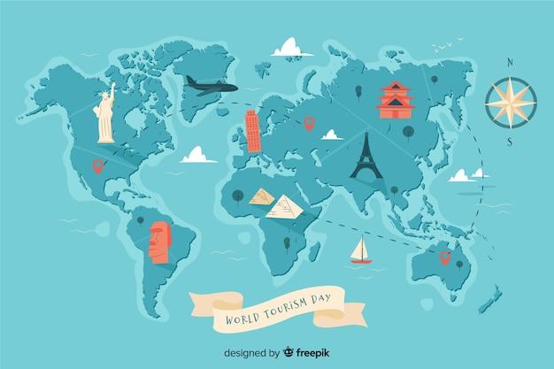 Welttourismus-tageshintergrund mit marksteinen und transport Premium Vektoren