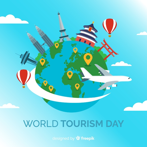 Welttourismus-tageshintergrund mit marksteinen und transport Kostenlosen Vektoren