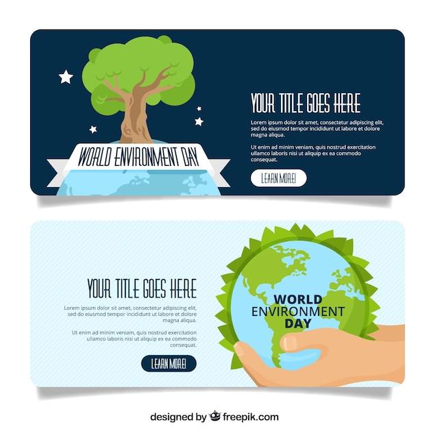 Weltumwelt Tag Banner mit Baum Kostenlose Vektoren