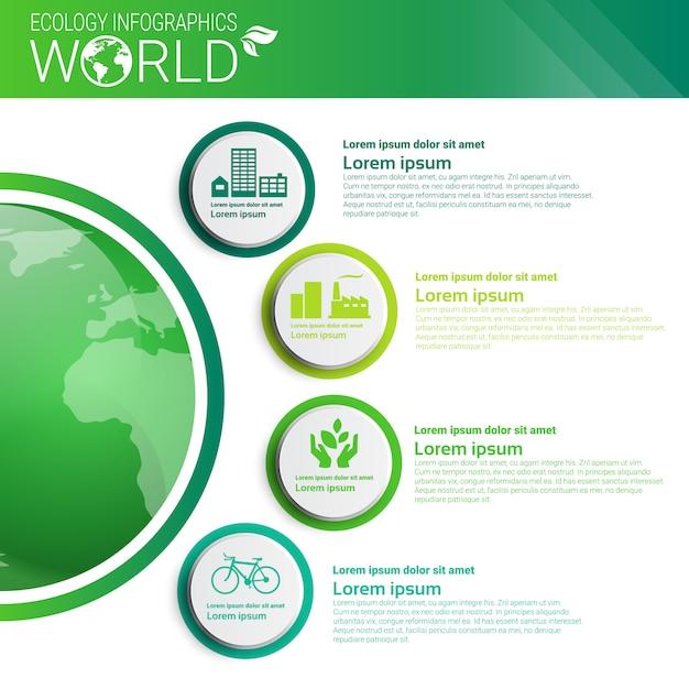 Weltumweltschutz-grüne energie-ökologie infographics-fahne mit kopienraum Premium Vektoren