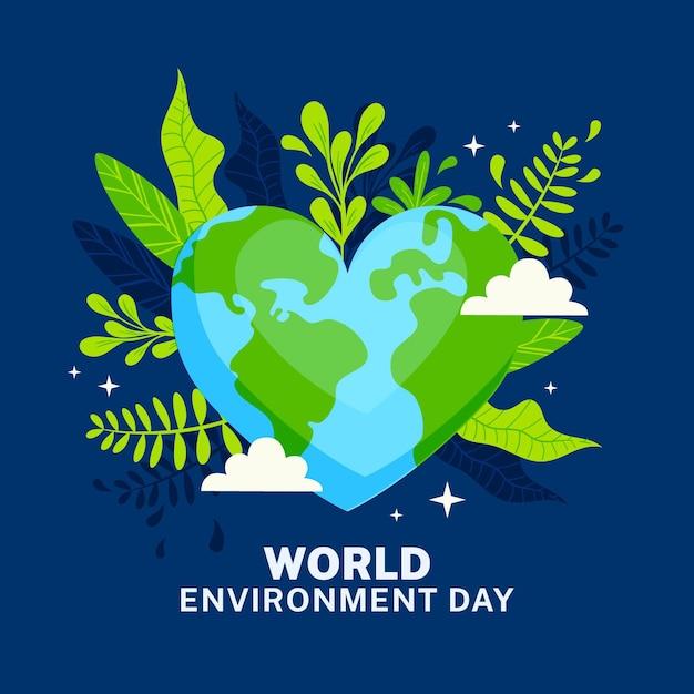 Weltumwelttag mit herzförmigem planeten Kostenlosen Vektoren