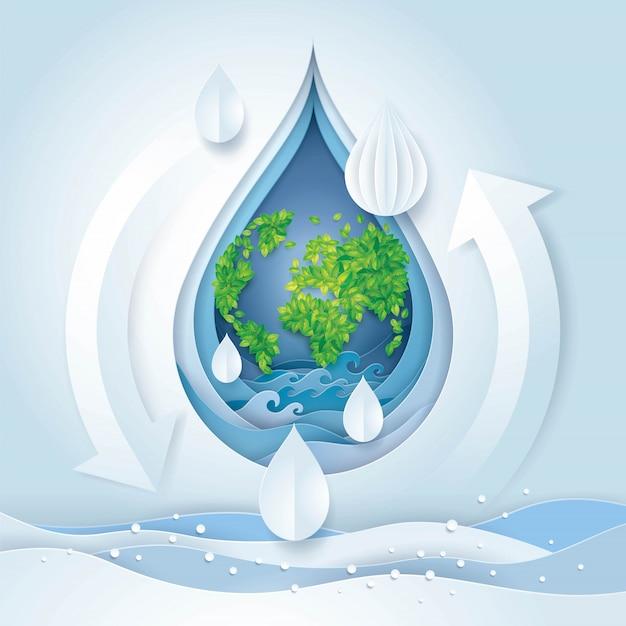 Weltwassertag, save the water und welt Premium Vektoren